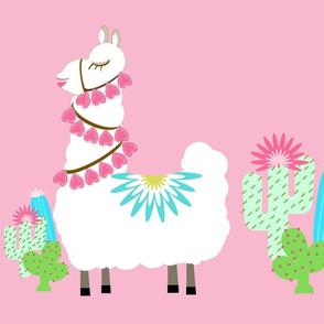 Fancy Glammy LLAMA cactus- pink XL 19
