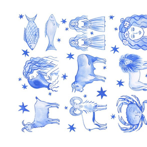 Blue Zodiac Dish Towel