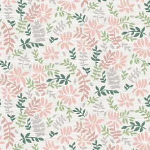 Pink and Green Tossed Tropical Leaves