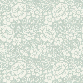 Light Green and Ivory Traditional Floral