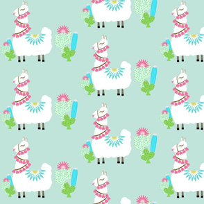 Fancy Glammy LLAMA cactus- mint green MED 7