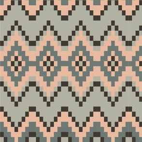 Pastel pink and Grey Aztec Pattern