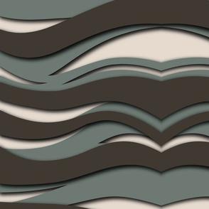 Dark grey and green waves