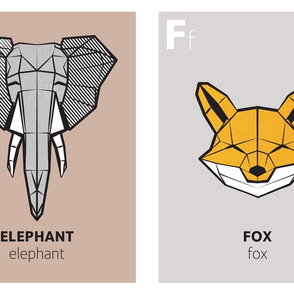 Geometric animal alphabet panels - E and F