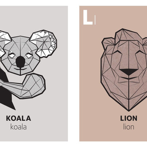 Geometric animal alphabet panels - K and L