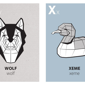 Geometric animal alphabet panels - W and X