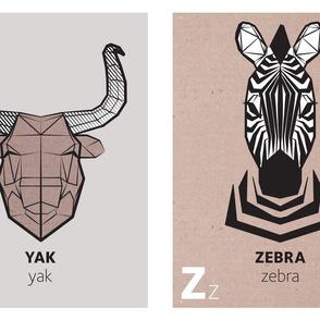 Geometric animal alphabet panels - Y and Z