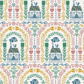 Folk Art Rainbow - Colorful Repeat