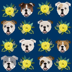 english bulldog floral heads - english bulldog fabric - navy and yellow
