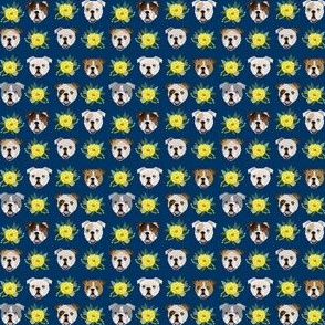 TINY - english bulldog floral heads - english bulldog fabric navy and yellow