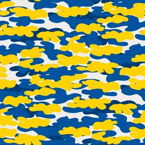 delaware camo fabric - camouflage fabric, blue and yellow, university sports
