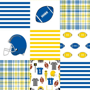 "delaware quilt fabric - 6"" squares, cheater quilt, football quilt, university college fabric"