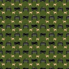 outdoors dog fabric - cars, trucks pug