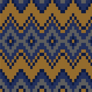 Blue and Gold Aztec pattern