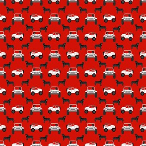 outdoors dog fabric - cars, trucks black lab