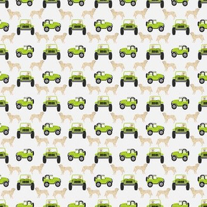 outdoors dog fabric - cars, trucks golden retriever