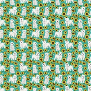 TINY - maltese sunflower design cute floral summer design maltese fabrics - turquoise