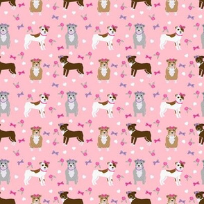 SMALL - pitbull dog fabric - bows and pearls, roses and florals - pink