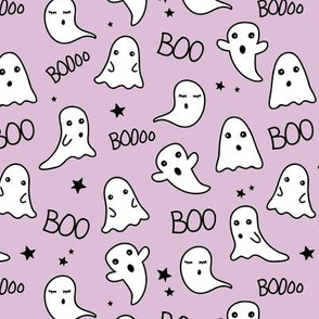 Spooky night ghost baby and stars kawaii halloween nursery pattern kids lilac girls