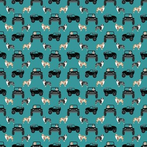 outdoors dog fabric - cars, trucks aussie dogs