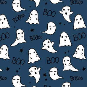 Spooky night ghost boo baby and stars kawaii halloween nursery pattern kids navy blue boys winter