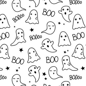 Spooky night ghost boo baby and stars kawaii halloween nursery pattern kids neutral monochrome black and white