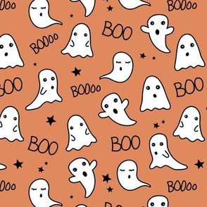 Spooky night ghost boo baby and stars kawaii halloween nursery pattern kids orange cinnamon