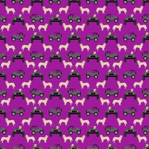 outdoors dog fabric - cars, trucks golden retriever purple
