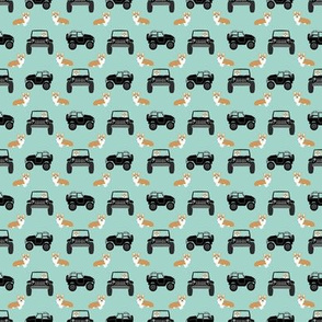 corgi outdoors dog fabric - cars, trucks