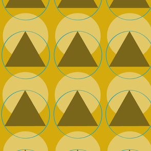Retro triangles in mustard and olive