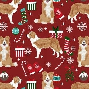 border collie christmas fabric - light border collie, cute dog, christmas dog, christmas fabric - burgundy