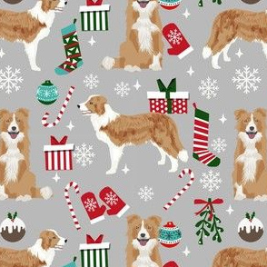 border collie christmas fabric - light border collie, cute dog, christmas dog, christmas fabric - grey