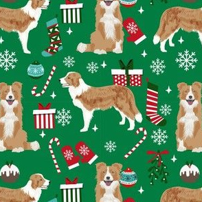 border collie christmas fabric - light border collie, cute dog, christmas dog, christmas fabric - green