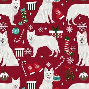 white shepherd christmas dog fabric - christmas dog, shepherd dog fabric, holiday fabric - burgundy