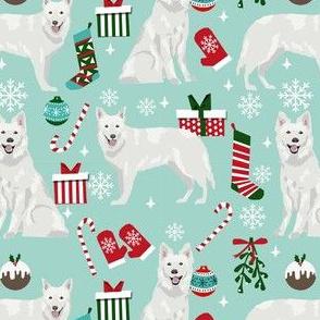 white shepherd christmas dog fabric - christmas dog, shepherd dog fabric, holiday fabric - ligth blue