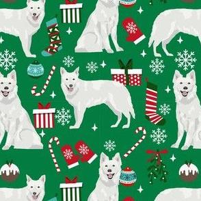 white shepherd christmas dog fabric - christmas dog, shepherd dog fabric, holiday fabric - green