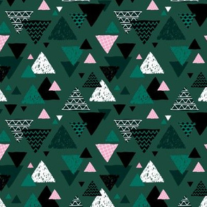 Geometric triangle aztec illustration hand drawn pattern winter green pink