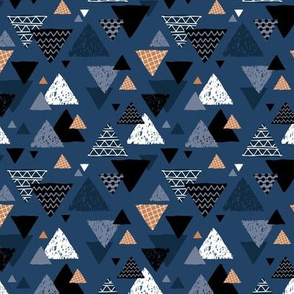 Geometric triangle aztec illustration hand drawn pattern winter navy blue cinnamon