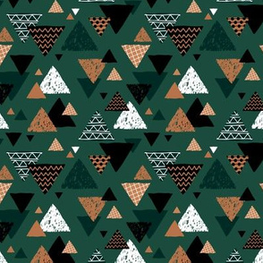 Geometric triangle aztec illustration hand drawn pattern winter christmas green cinnamon