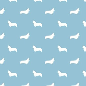 corgi dog silhouette fabric - light blue