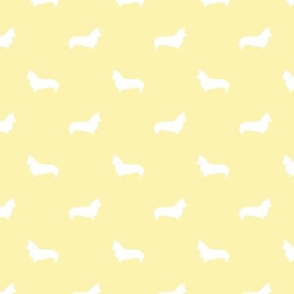 corgi dog silhouette fabric - nursery pastel yellow