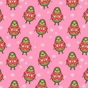 avocado christmas fabric - avocado christmas, vegan christmas, holiday christmas, avocado fabric - pink