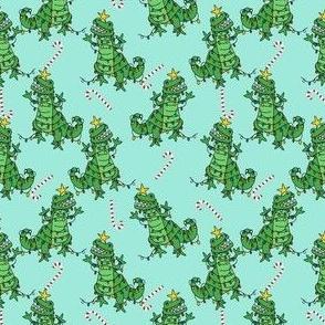 tree rex - dino christmas, tree rex fabric, dinosaur fabric, christmas fabric, cute holiday fabric - blue