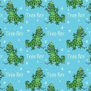 tree rex - dino christmas, tree rex fabric, dinosaur fabric, christmas fabric, cute holiday fabric - light blue