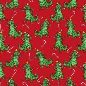 tree rex - dino christmas, tree rex fabric, dinosaur fabric, christmas fabric, cute holiday fabric - red