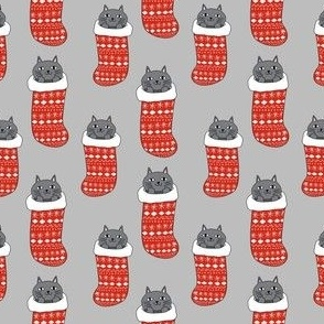 rude cat - middle finger cat - merry catmas, funny cat fabric - grey