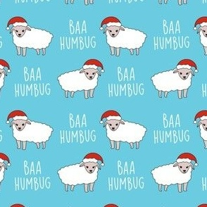 baa humbug - sheep fabric, funny fabric, meme fabric - blue
