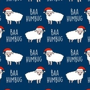 baa humbug - sheep fabric, funny fabric, meme fabric -navy