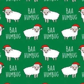 baa humbug - sheep fabric, funny fabric, meme fabric - green
