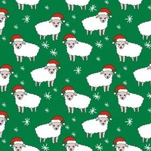 christmas sheep fabric - christmas sheep, baa humbug, - green